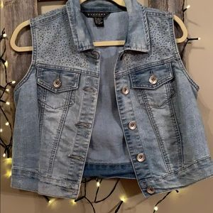 Jean vest with rhinestones